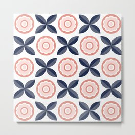 Retro pattern with flowers and leaves Metal Print