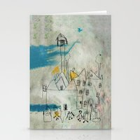 cityscape Stationery Cards featuring Cityscape by asarakai