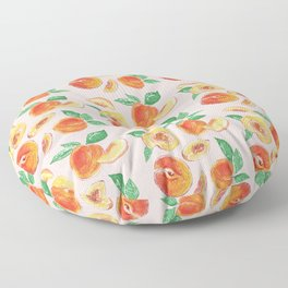 Peaches Slices party in my garden_ Hand Painted modern watercolour & ink Floor Pillow