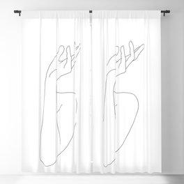 Hands line drawing illustration - Leona Blackout Curtain