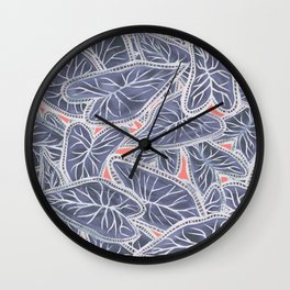 Tropical Caladium Leaves Pattern - Purple Gray Coral Wall Clock