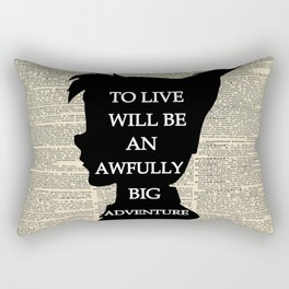 Peter Pan Over Vintage Dictionary Page - To Live Rectangular Pillow