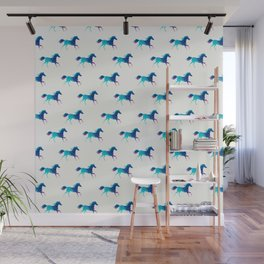 blue horse pattern Wall Mural