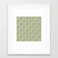 hamster Framed Art Prints featuring Hamster Pattern by Noreen Torelli