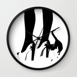 Black and White Kitten with Heels Wall Clock