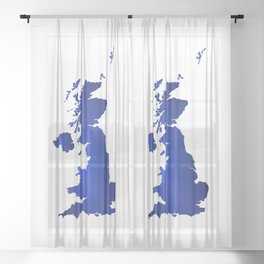 United Kingdom Map silhouette Sheer Curtain