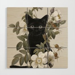 Cat With Flowers Wood Wall Art