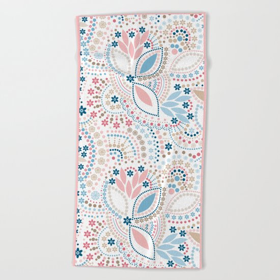 Colorful pattern of pastel light colors with beads Beach Towel