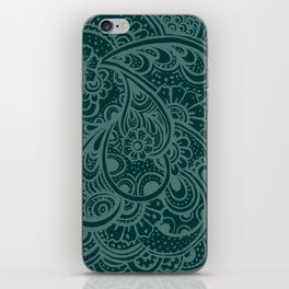Teal Paisley iPhone Skin
