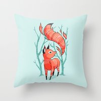 carpe Throw Pillows featuring Winter Fox by Freeminds