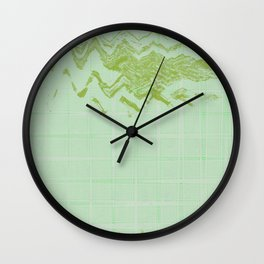 Green weird messy looking shapes acts like sky hovering on green wavy lines tiles background Wall Clock