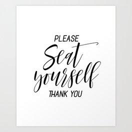 Printable Please Seat Yourself Thank You Wall Art, Funny Bathroom Wall Art Prints Art Print