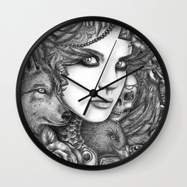 Wolf two Wall Clock