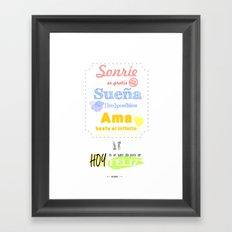 {ESP} SONRÍE · SUEÑA · AMA Framed Art Print