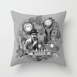 time, clock, watch, repair, shop, man, fixing, vintage, engraving, Throw Pillow