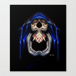 Blue Caped Skull Canvas Print