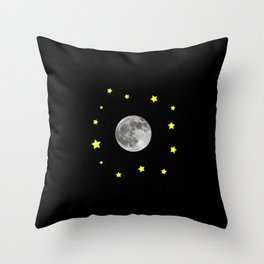 Moon and stars in the space Throw Pillow