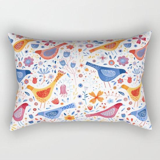 Birds in a Garden Rectangular Pillow