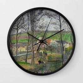 """Camille Pissarro """"The banks of the Viosne at Osny in grey weather, winter (Bords de la Viosne à Osny Wall Clock"""