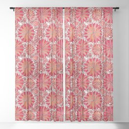 Tribal Mandala Print, Coral Red and White Sheer Curtain