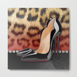 High Heel Stilettos and Leopard Print Metal Print