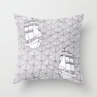 ships Throw Pillows featuring Ships by hellotomato