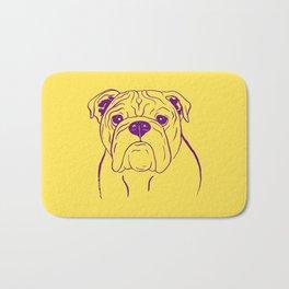 English Bulldog (Yellow and Purple) Bath Mat