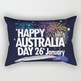 Happy Australia Day 26th January inscription poster with Australian Flag, Australia Map, stars and fireworks. Funny Australia, Patriotic National Holiday Festive Poster for gifts and clothing design. Festival Event decoration. T-Shirt Rectangular Pillow