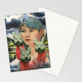 Japanese Woman with foxes Stationery Cards