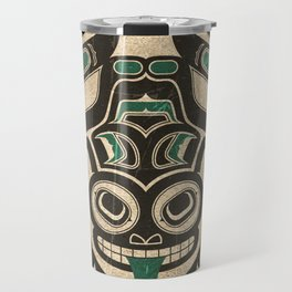 Teal Blue and Black Haida Spirit Tree Frog Travel Mug
