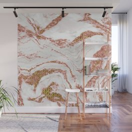 Rose Quartz Marble With Sparkly 24-Karat Gold Veins Wall Mural