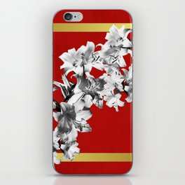 Lilies, Lily Flowers on Red iPhone Skin
