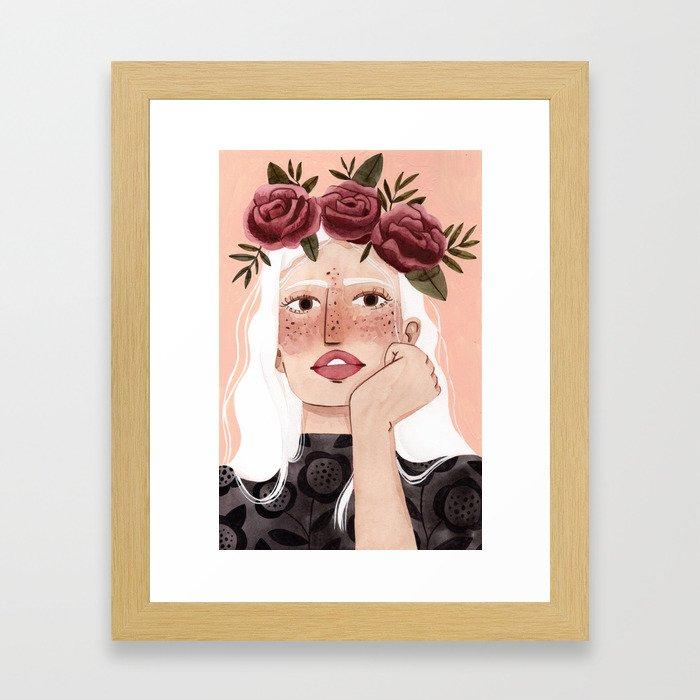 Floral wreath Framed Art Print