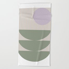 Lines and Shapes in Moss and Lilac Beach Towel