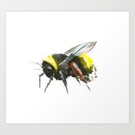 Bumblebee, minimalist bee honey making art, design black yellow Art Print