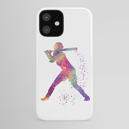 Girl Baseball Player Softball Batter Colorful Watercolor Art iPhone Case