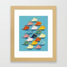 Happy Hippo Family Framed Art Print