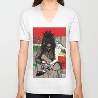 basquiat V-neck T-shirts featuring Basquiat by Helen Syron