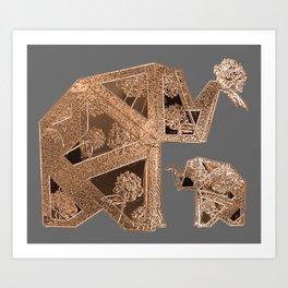 18k Gold Metallic Elephants with Floral Detail Art Print