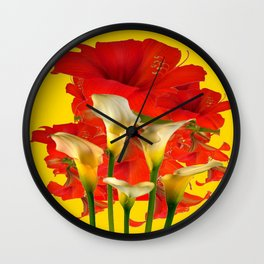 RED AMARYLLIS & CALLA LILY HOLIDAY FLORALS Wall Clock