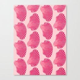 Scallop Shell Block Print, Fuchsia and Pale Pink Canvas Print