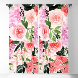 Pink and Red Roses Loose Floral Bouquet Blackout Curtain