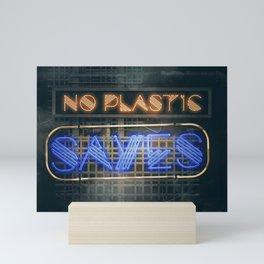 No Plastic - Say Yes – Save the Planet Mini Art Print
