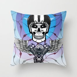 biker from hell Throw Pillow
