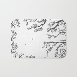 tree branches with birds and leaves on a light background Bath Mat