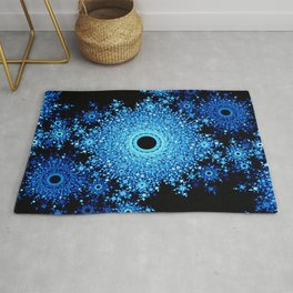 Blue Black Mandala Rug