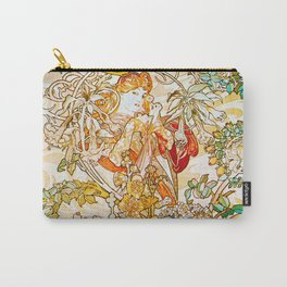 Alphonse Mucha - Woman with Daisy Carry-All Pouch