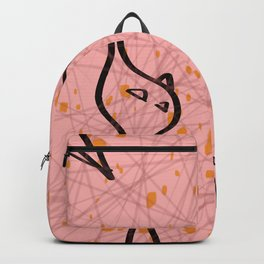 Mid Century Modern Cool Cats - Pink and Black Palette Backpack