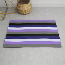 Eye-catching Midnight Blue, Lavender, Purple, Dim Gray & Black Colored Striped/Lined Pattern Rug
