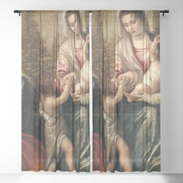 "Veronese (Paolo Caliari) ""Madonna and Child with Saint Elizabeth, the Infant Saint John the Baptist"" Sheer Curtain"